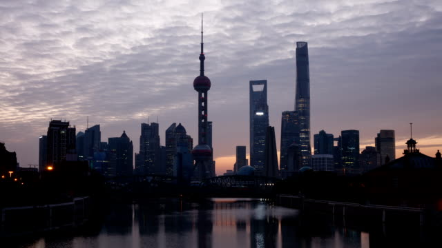 Sunrise view of Oriental Pearl Tower and SWFC with skyscrapers over the Huangpu River in Shanghai, China