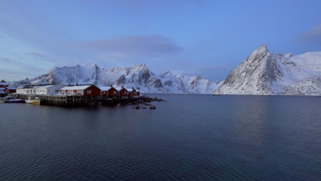 sunrise view of reine, norway - nordland county stock videos & royalty-free footage