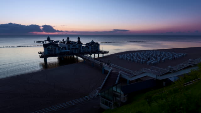 Sunrise view of Sellin Pier with beach / Sellin, Island of Rugen, Mecklenburg Vorpommern, Germany
