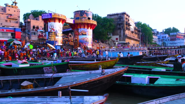 Sunrise view of the city of Benares from the Ganges river. Uttar Pradesh State, India, Asia