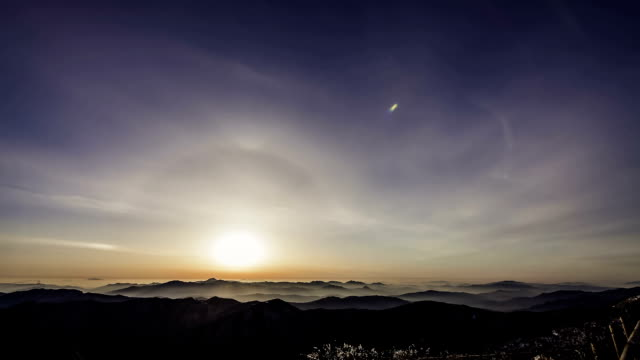 sunrise view of the deogyusan mountain(national park) muju, jeollabuk-do province - horizon over land stock videos & royalty-free footage