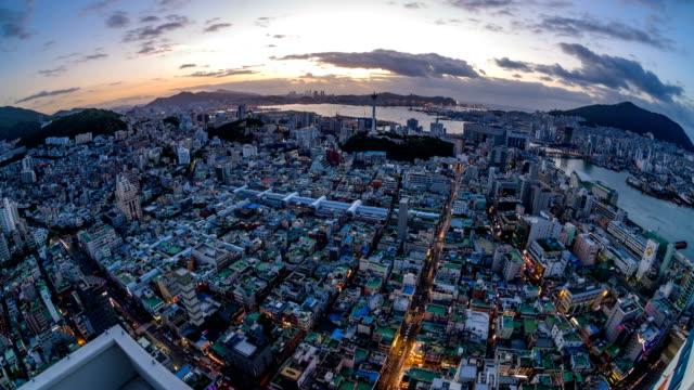 sunrise view of wondoshim(old downtown), jung-gu district, busan - busan stock videos & royalty-free footage