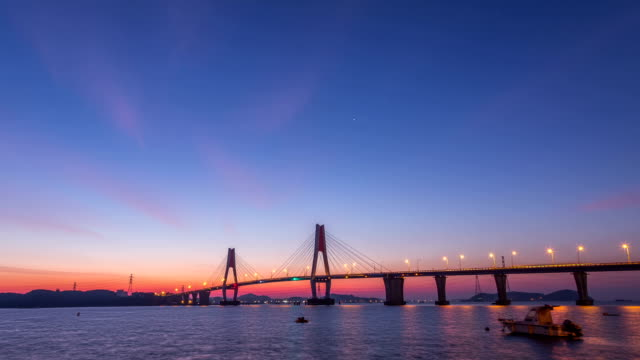 sunrise view of yeongheungdaegyo bridge(local landmark) in	yeongheung-do island - local landmark stock videos and b-roll footage