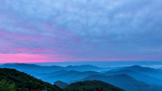 Sunrise view over mountain range of Soyangkang River basin in Chuncheon, Gangwon Province