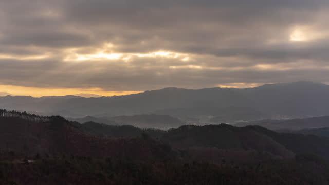 sunrise with tyndall phenomenon / jinan-gun, jeollabuk-do, south korea - light natural phenomenon stock videos & royalty-free footage