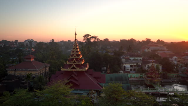 sunrise  yangon city, myanmar - myanmar stock videos & royalty-free footage
