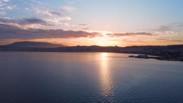 sunrising on izmir gulf - izmir stock videos & royalty-free footage