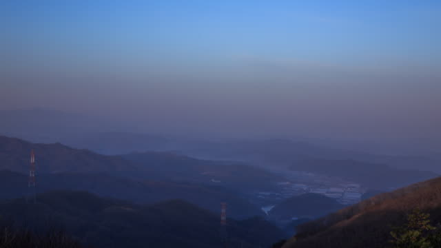 sunrising view of taegi mountain in hoengseong-gun - electricity pylon stock videos & royalty-free footage