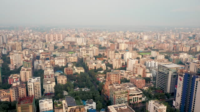 sunset 4k drone video of the cityscape of dhaka, bangladesh - dhaka stock videos & royalty-free footage