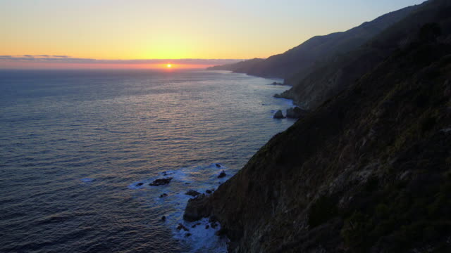 Sunset Above the Rocky Coastline in Big Sur