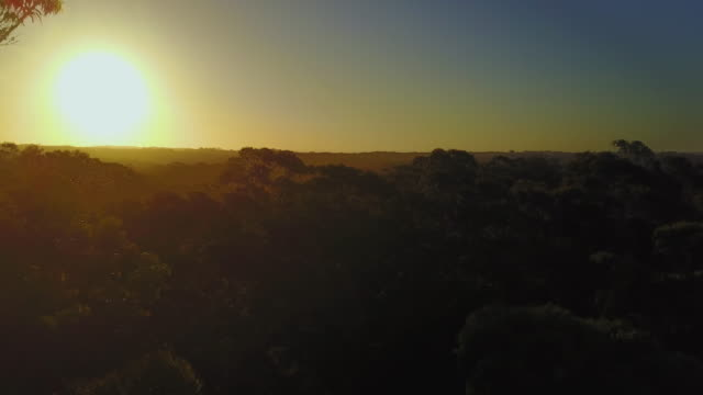 4K Sunset Aerial View Flying backwards, Jervis Bay, Australia.