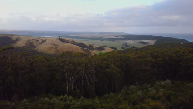 Sunset aerial view of a landscape, in Glenaire, Great Ocean Road, Australia