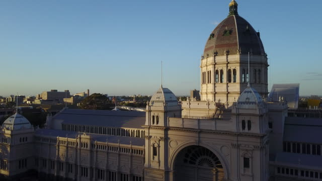 sunset aerial view of north melbourne and the exhibition centre, carlton gardens, victoria - dome stock videos & royalty-free footage