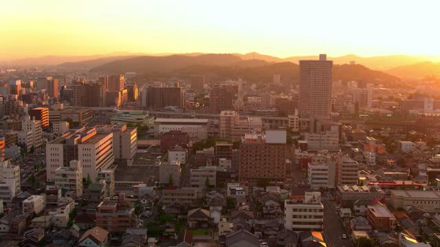 sunset aerial view of okayama, japan - satoyama scenery stock videos & royalty-free footage