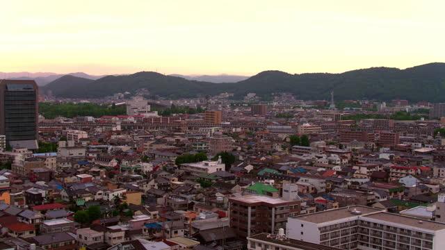 sunset aerial view of okayama, japan - non urban scene stock videos & royalty-free footage