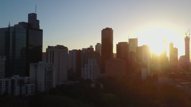 Sunset Aerial view of the Melbourne skyline with trees