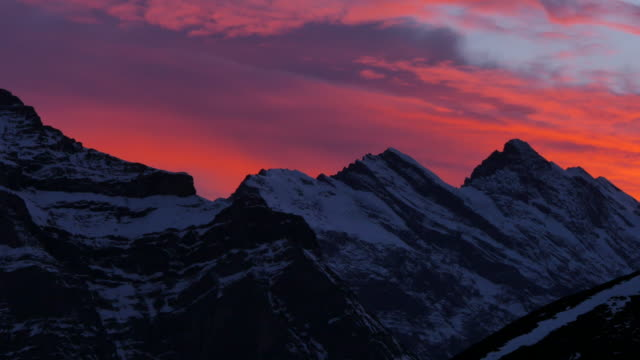 Sunset afterglow from Kleine Scheidegg, Jungfrau region, Bernese Oberland, Swiss Alps, Switzerland, Europe