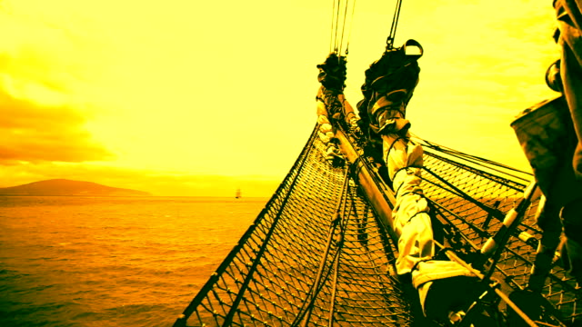 sunset and bowsprit - the past stock videos and b-roll footage