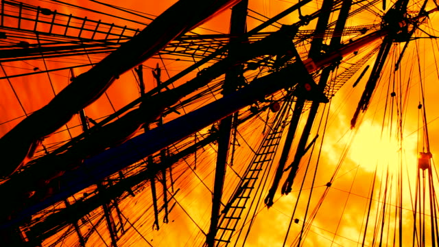 sunset and masts - the past stock videos and b-roll footage