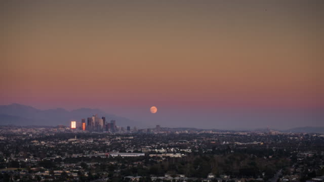 Sunset and Moonrise in Los Angeles - Supermoon