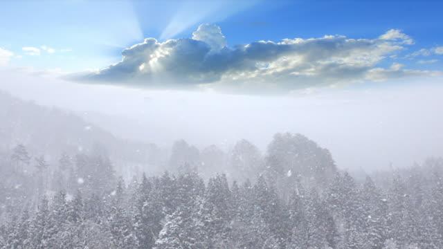 日本の夕日と雪 - 谷点の映像素材/bロール