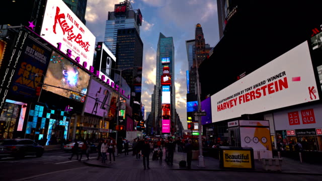 sunset and time square - times square manhattan stock videos & royalty-free footage
