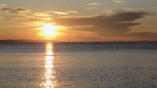 ms sunset at adriatic sea / novalja, dalmatia, croatia - adriatic sea stock videos & royalty-free footage