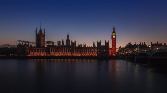sunset at big ben day to night, london - big ben stock videos and b-roll footage