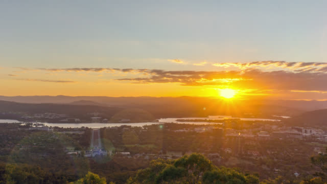 sunset at canberra city, nsw australia - canberra stock videos & royalty-free footage
