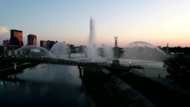 sunset at dayton river fountains - dayton ohio stock videos & royalty-free footage