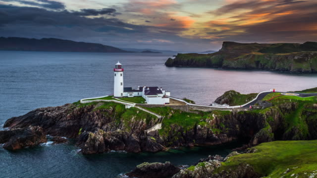 sunset at fanad head lighthouse, county donegal in ireland - lighthouse stock videos & royalty-free footage