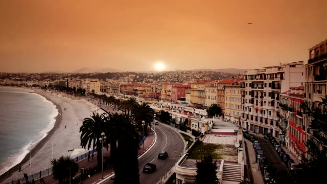 sunset at french riviera - france stock videos & royalty-free footage