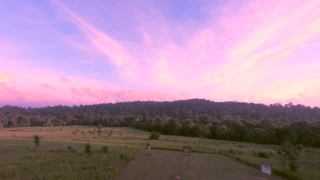 sunset at koawyai national park thailand. - recreational horse riding stock videos & royalty-free footage