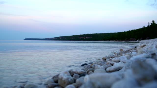 Sunset at lake Hurone, Bruce Peninsula, Tobermory, Ontario, Canada