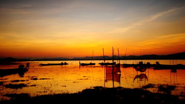 Zeit Zeitraffer Sonnenuntergang am See