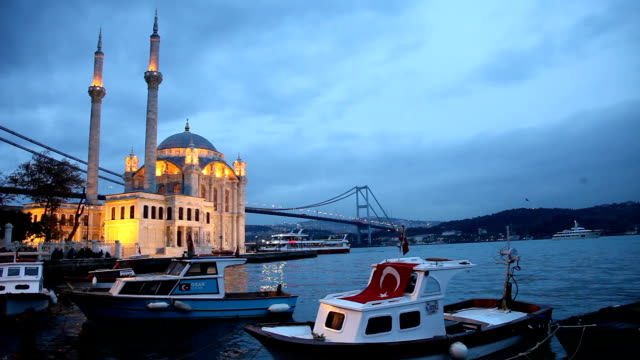 sunset at ortakoy mosque in istanbul - ortakoy mosque stock videos and b-roll footage
