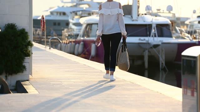 sunset at porto montenegro - marina stock videos & royalty-free footage