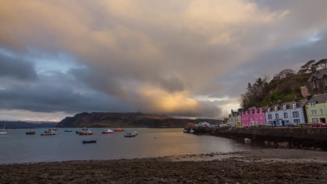 sunset at portree harbor hd - skye stock videos and b-roll footage