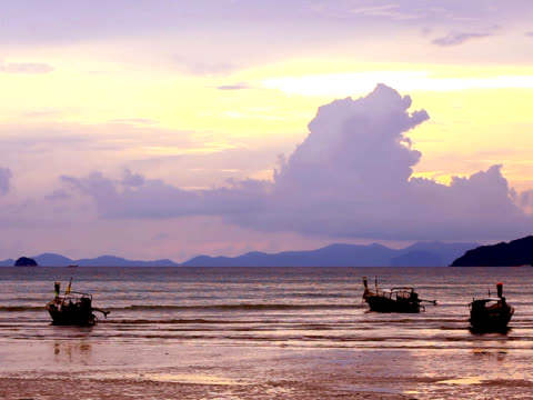 ntsc: sunset at railay beach (video) - railay beach stock videos and b-roll footage