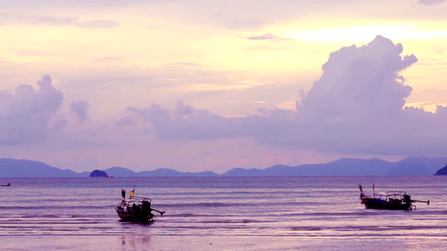 sunset at railay beach (video) - railay beach stock videos and b-roll footage