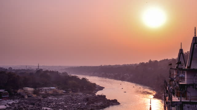 Sunset at Rishikesh with the golden light on Ganges