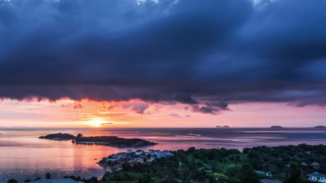 sunset at sea. aerial view at koh samui. time lapse video - seascape stock videos & royalty-free footage