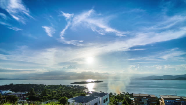 sunset at sea. aerial view at koh samui. time lapse video - coastal feature stock videos & royalty-free footage
