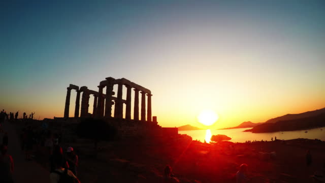 Sunset at Temple of Poseidon, Cape Sounion, Greece. - Time-Lapse