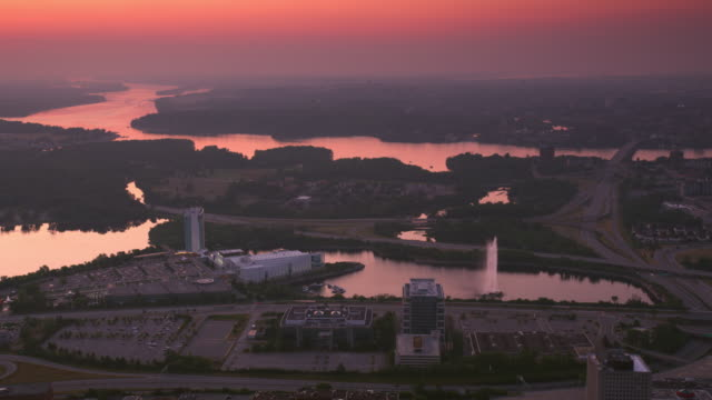 aerial sunset at the casino du lac-leamy, gatineau - canadian politics stock videos & royalty-free footage