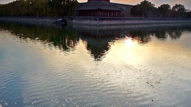 sunset at the moat of forbidden city - moat stock videos & royalty-free footage
