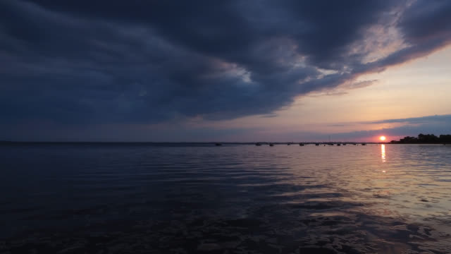 sunset at the seaside - arcachon stock videos and b-roll footage