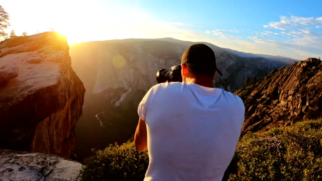 sunset at the yosemite national park - taft point - blogging stock videos & royalty-free footage
