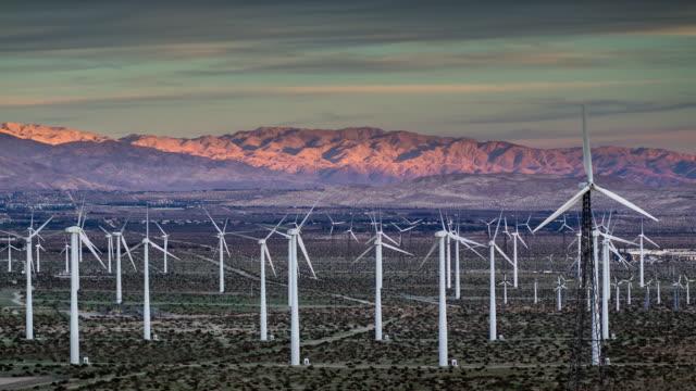 Sunset at Wind Farm - Timelapse