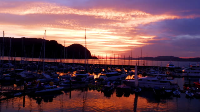 sunset at yacht club - langkawi stock videos and b-roll footage